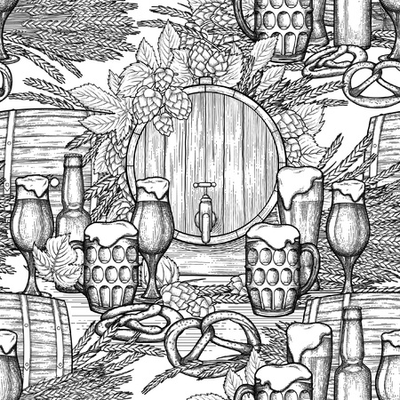 Graphic Oktoberfest pattern isolated on  sketched background.