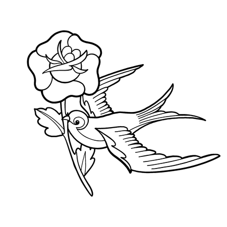 Graphic swallow carrying flower