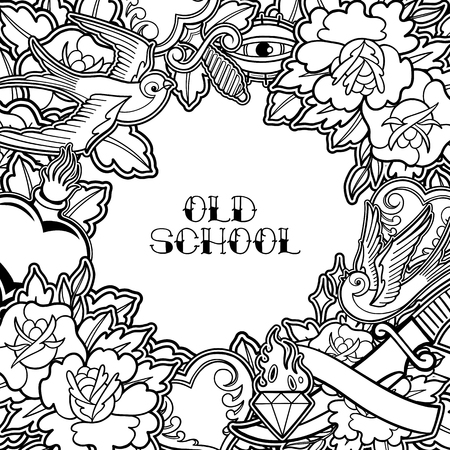 Graphic design inspired by old school tattoo style. Vector traditional art. Coloring book page for adults and kids 向量圖像