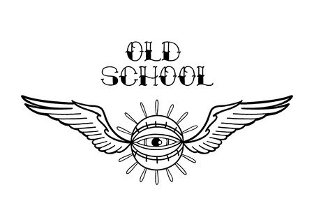 Graphic winged all-seeing eye. Vector art for old school tattoo design isolated on white background. Coloring book page for adults and kids