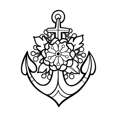 Graphic anchor with floral decorations