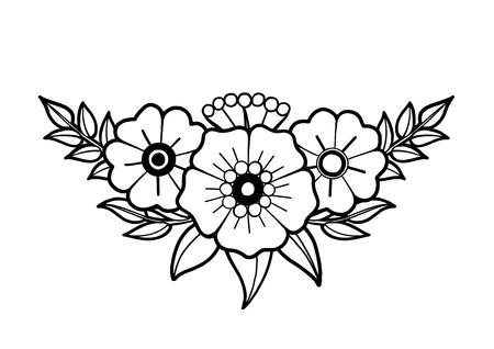 Graphic floral vignette Illustration