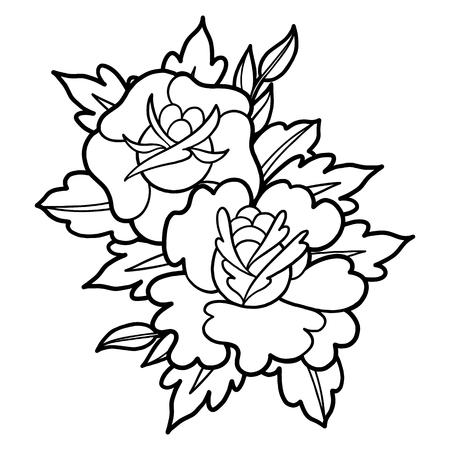 Graphic floral vignette Ilustração