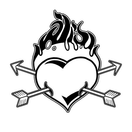 Graphic flaming heart pierced by two arrows