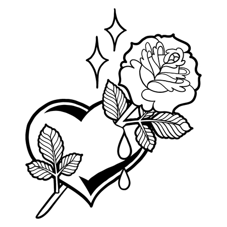 Graphic heart with flower Stock Photo