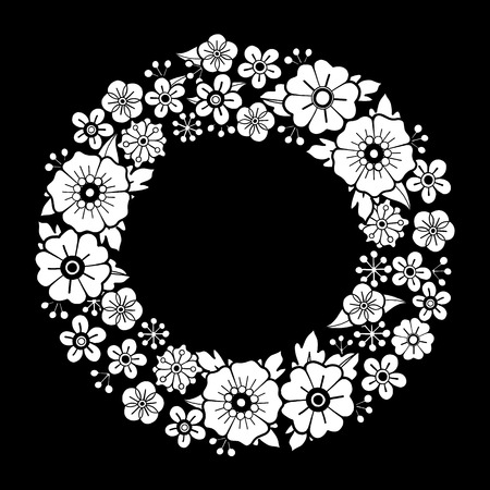 Graphic floral wreath