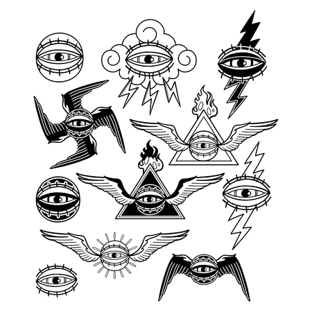 Graphic collection of all-seeing eyes. Vettoriali