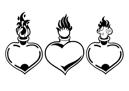 Graphic flaming heart