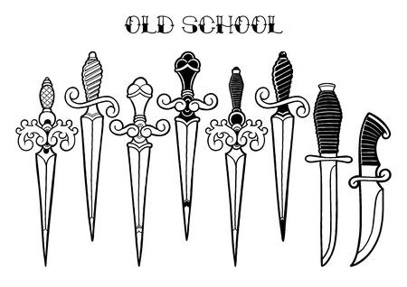 Cuchillos ornamentados con gráficos Ilustración de vector