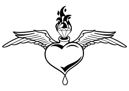 Graphic winged heart with flaming gemstone and the drop of blood. Vector art for old school tattoo design isolated on white background. Coloring book page for adults and kids.