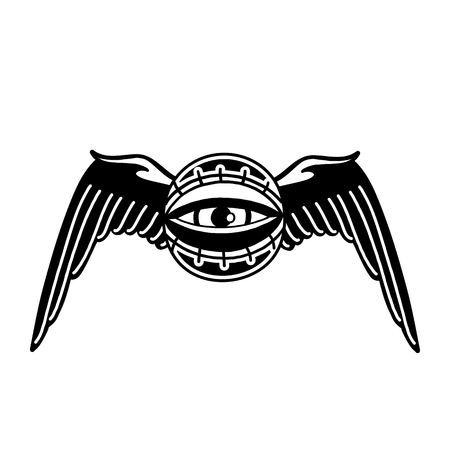 Graphic winged all-seeing eye