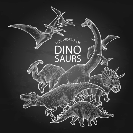 Group of graphic dinosaurs