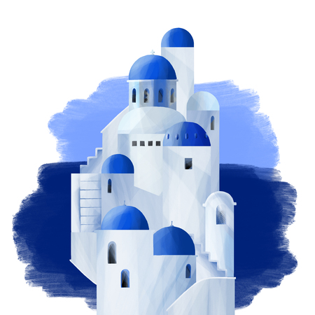 White houses with blue domed roofs