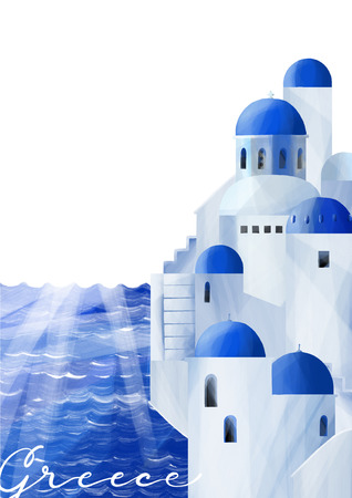 Maisons blanches aux toits en dôme bleu