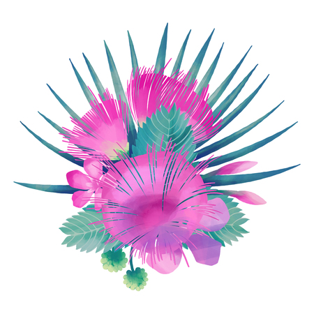 Albizia flowers and palm leaves