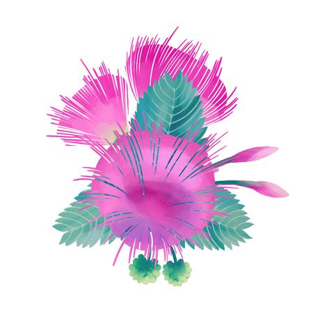 Pastel colored design with Albizia flowers
