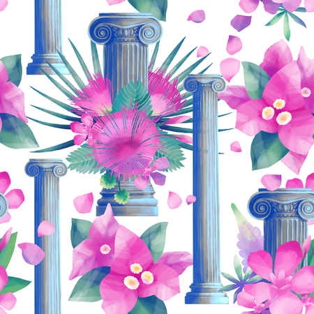 Design with column and flowers