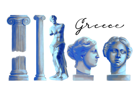 Collection of ancient columns and sculptures of Venus de Milo