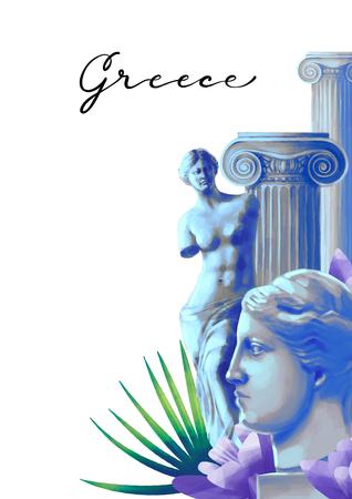 Design with Venus de Milo sculptures, columns and flowers