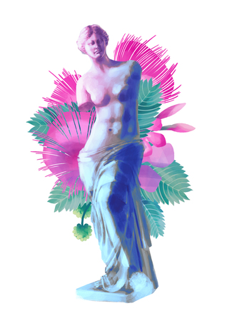 Venus de Milo statue and albizia flowers