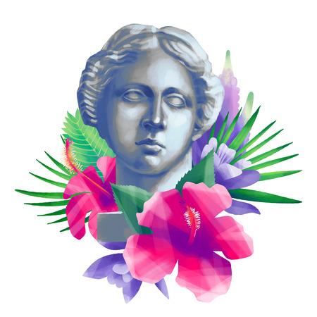 Venus de Milo head with flowers Zdjęcie Seryjne