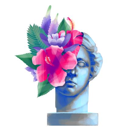 Venus de Milo statue with cut skin and exotic flowers