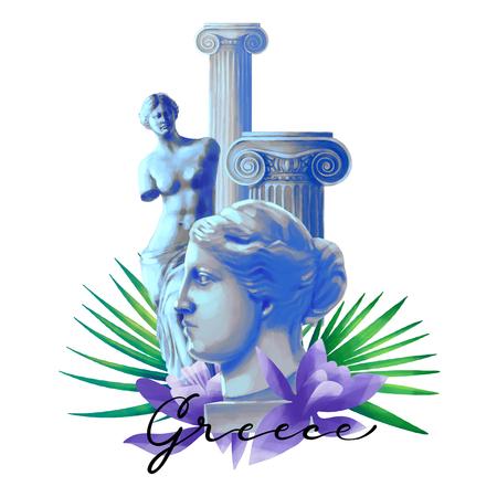 Venus de Milo statues, ancient column and flowers