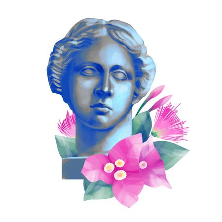 Venus de Milo head with flowers Stock Photo