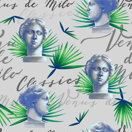 Design with Venus de Milo sculptures, palm leaves and script Zdjęcie Seryjne