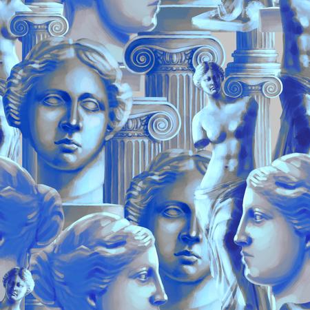 Classical pattern of Venus de Milo and columns Standard-Bild - 105784692