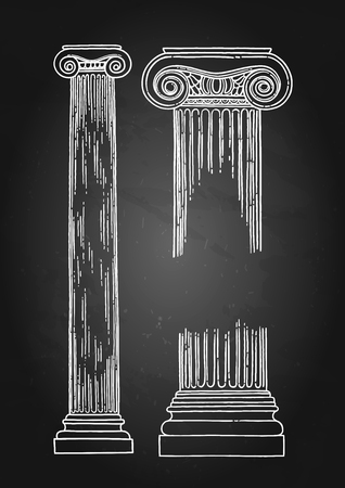 Antique Ionic Order Columns drawn in engraving technique and isolated on chalkboard background