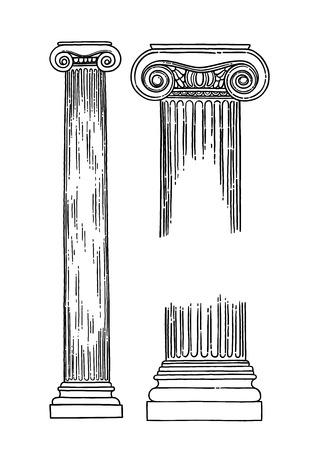 Columnas de orden jónico antiguas dibujadas en técnica de grabado y aisladas sobre fondo blanco. Diseño de página de libro para colorear para adultos y niños