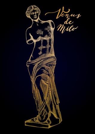 Venus de Milo sculpture drawn in engraving technique Banque d'images - 107807791