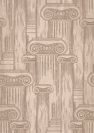 Classical design with ancient ionic order columns. Vector seamless pattern in engraving technique