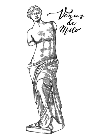 Venus de Milo sculpture drawn in engraving technique Vectores