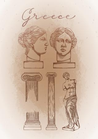 Collection of ancient columns and sculptures of Venus de Milo Vektoros illusztráció