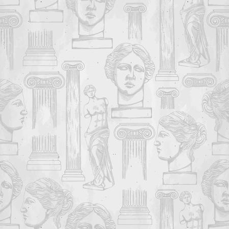 Klassisches Muster der Venus de Milo und Säulen