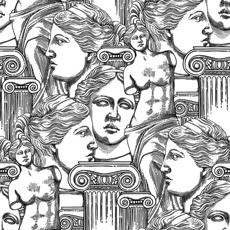 Classical design with ancient ionic order column and Venus Milos statues. Vector seamless pattern in engraving technique. Coloring book page design for adults and kids
