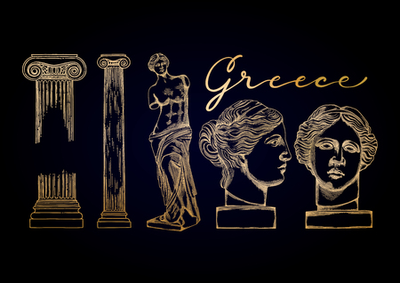 Collection of ancient ionic order columns and sculptures of Venus de Milo. Front and side views. Vector art in engraving technique.