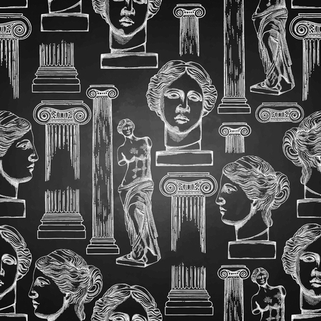 Classical design with ancient ionic order column and Venus Milos statues. Vector seamless pattern in engraving technique. Vectores