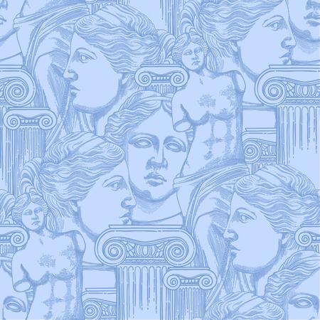 Classical pattern of Venus de Milo and columns