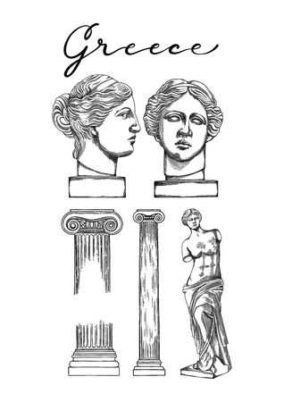 Collection of ancient ionic order columns and sculptures of Venus de Milo. Front and side views. Vector art in engraving technique. Coloring book page design for adults and kids