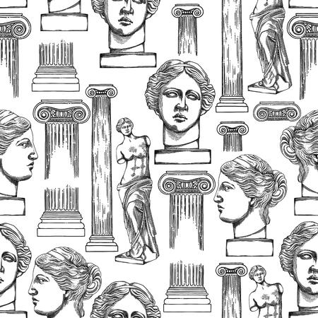Diseño clásico con columna de orden iónico antiguo y estatuas de Venus Milos. Patrón transparente de vector en técnica de grabado. Diseño de página de libro para colorear para adultos y niños