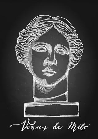 Venus de Milo head sculpture in the front view. Vector art in engraving technique.