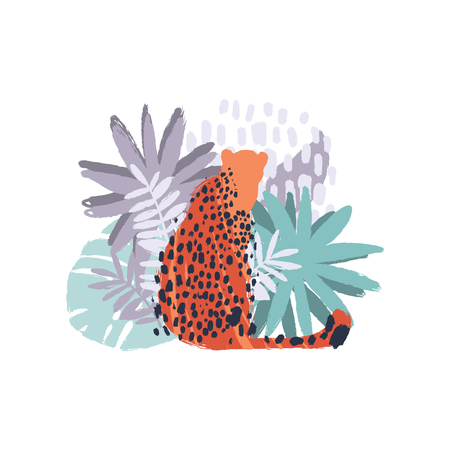 Vector graphic cheetah surrounded by exotic plants