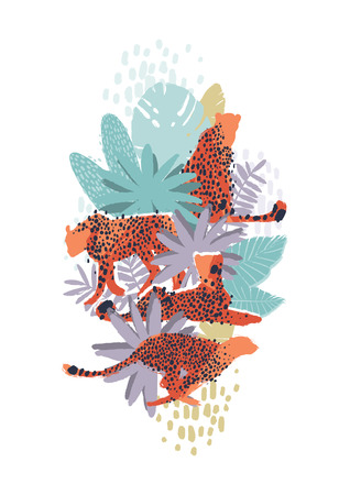 Vector graphic cheetah surrounded by exotic plants 일러스트