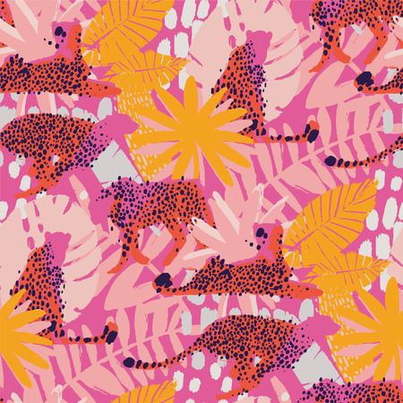 Vector pattern of cheetahs surrounded by exotic plants