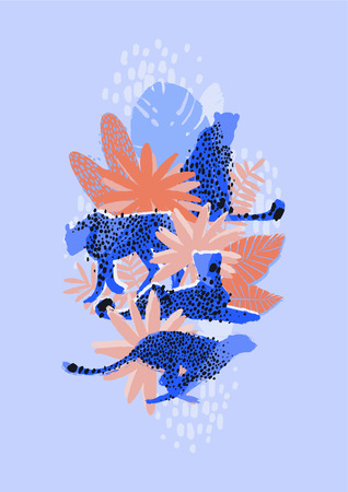 Vector graphic cheetah surrounded by exotic plants Vectores