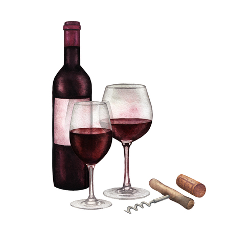 Two watercolor glasses of red wine, dark bottle, cork and corkscrew
