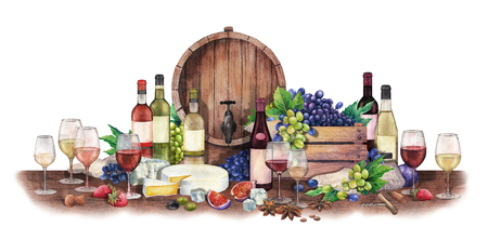 Watercolor wine glass and bottle decorated with delicious food Banque d'images
